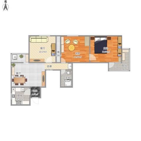 南新园2室1厅1卫1厨87.00㎡户型图