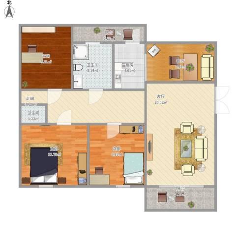 仪邦广场3室2厅2卫1厨119.00㎡户型图