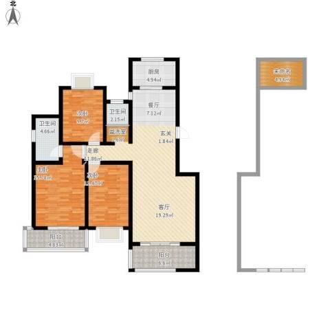 万达高尔夫花园3室1厅2卫1厨155.00㎡户型图