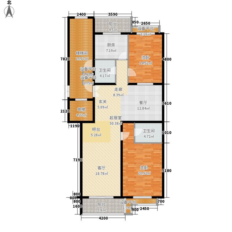 胜古馨园140.53㎡二室二厅二卫户型