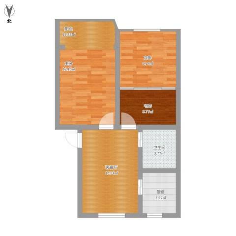 仁和花苑2室1厅1卫1厨76.00㎡户型图