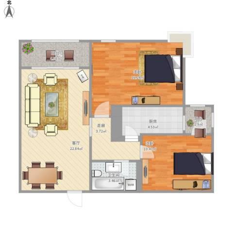 北苑家园茉藜园2室1厅1卫1厨93.00㎡户型图