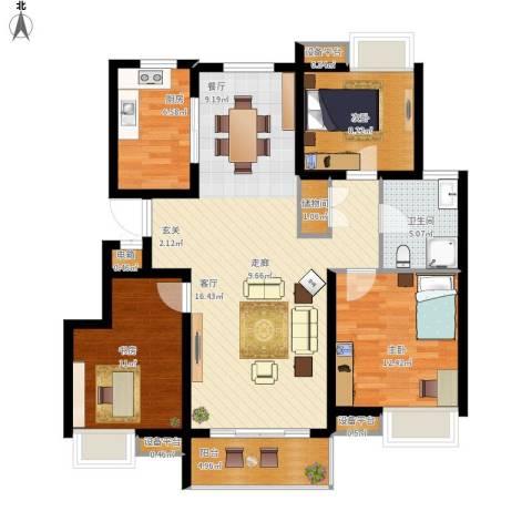 蓝天小区3室1厅1卫1厨128.00㎡户型图