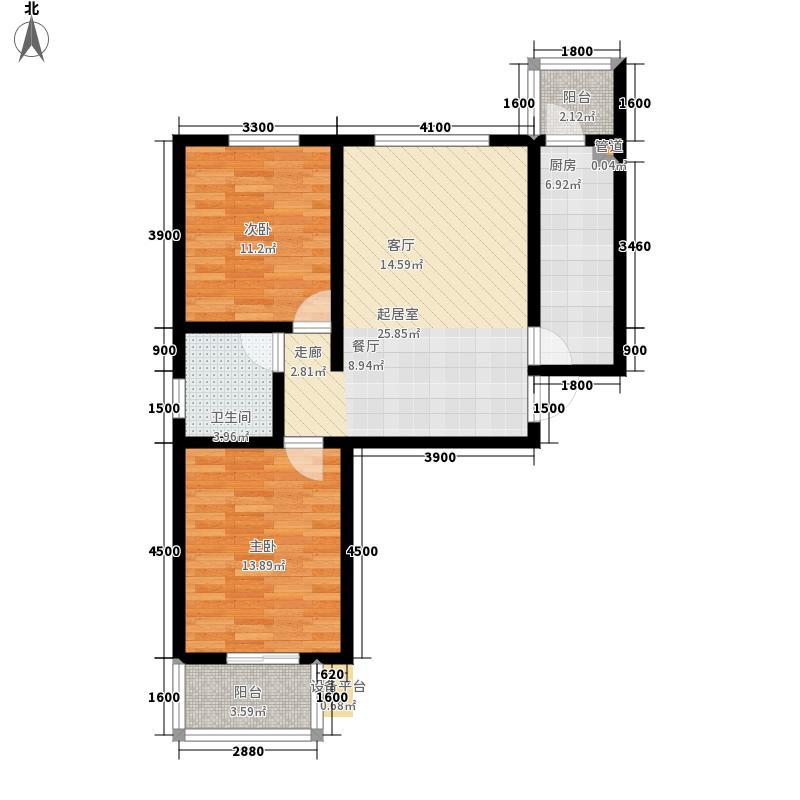 海龙湾98.16㎡A-1户型2室2厅