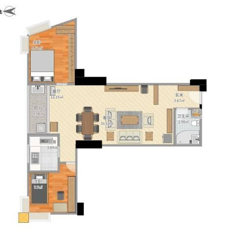 华顺大厦2室1厅1卫1厨80.00㎡户型图