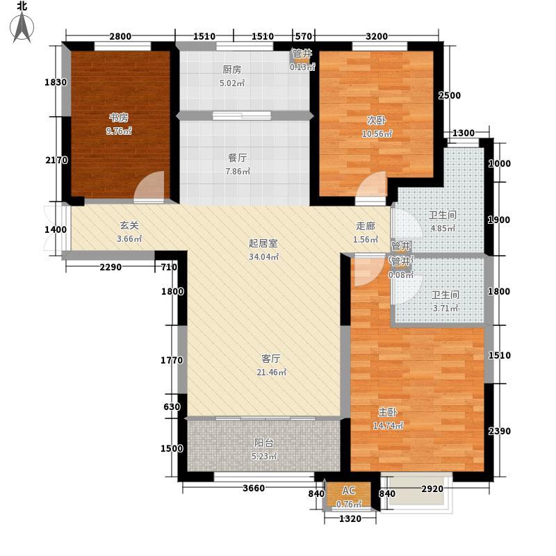 济南鲁能领秀城中央公园124.00㎡东区D户型3室2厅