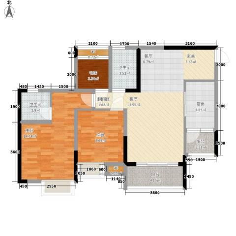 奥园金域3室0厅2卫1厨83.50㎡户型图