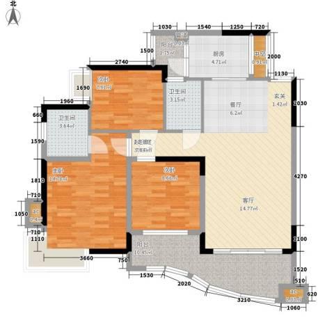 华宇渝州新都3室0厅2卫1厨102.00㎡户型图
