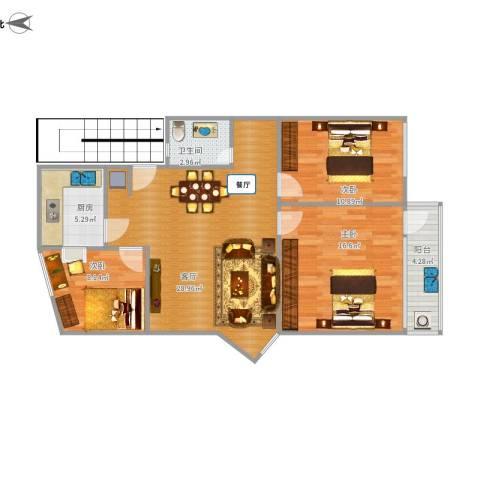 莲坂西小区3室1厅1卫1厨104.00㎡户型图