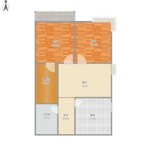 五龙湾山水庭院2室1厅1卫1厨122.00㎡户型图