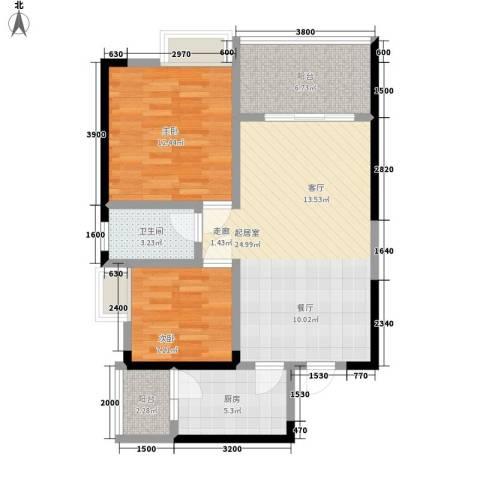 奥园金域2室0厅1卫1厨64.00㎡户型图