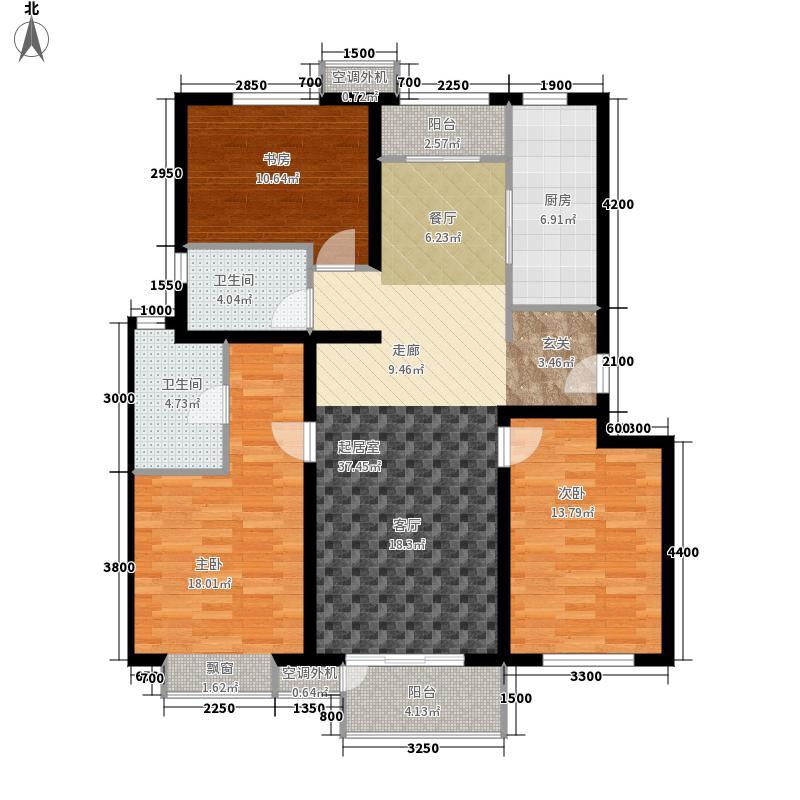 天鸿万象新天128.00㎡多层C1户型3室2厅