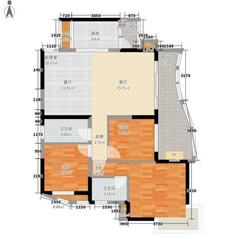 华宇渝州新都3室0厅2卫1厨103.00㎡户型图