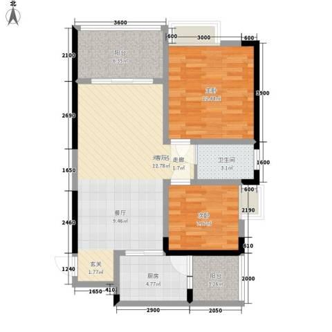 奥园金域2室0厅1卫1厨66.00㎡户型图
