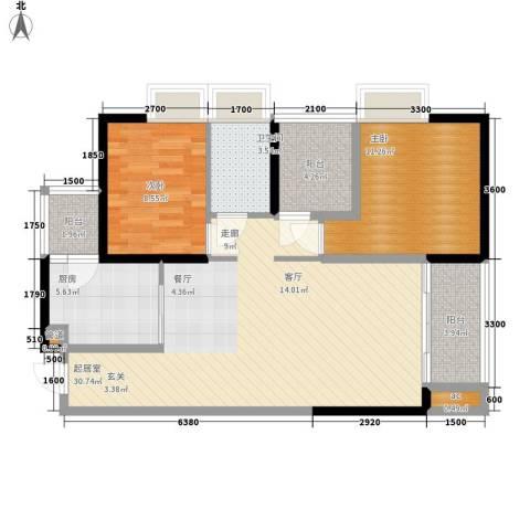 奥园金域2室0厅1卫1厨81.18㎡户型图
