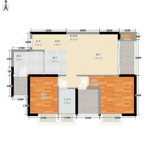 奥园金域2室0厅1卫1厨72.00㎡户型图