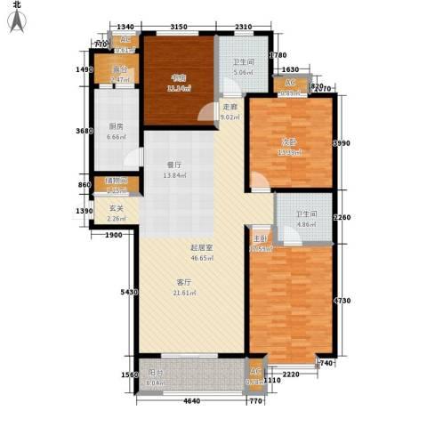 汇博阳光水岸3室0厅2卫1厨134.00㎡户型图