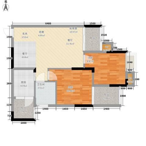 奥园金域2室0厅1卫1厨62.00㎡户型图