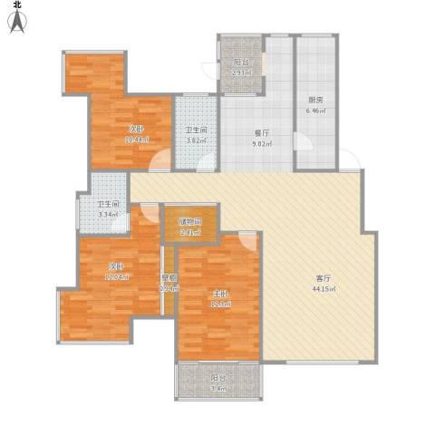 拉德芳斯3室1厅2卫1厨135.00㎡户型图