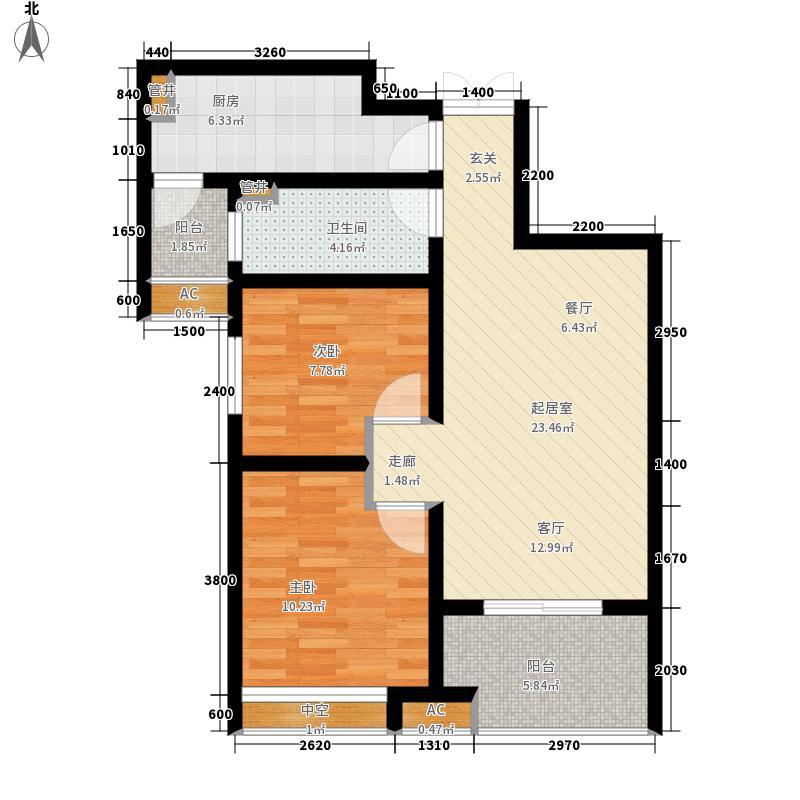 济南鲁能领秀城中央公园88.73㎡1号楼B-2户型2室2厅