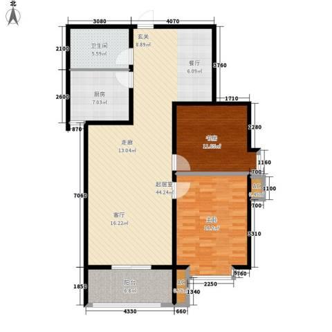 汇博阳光水岸2室0厅1卫1厨105.00㎡户型图