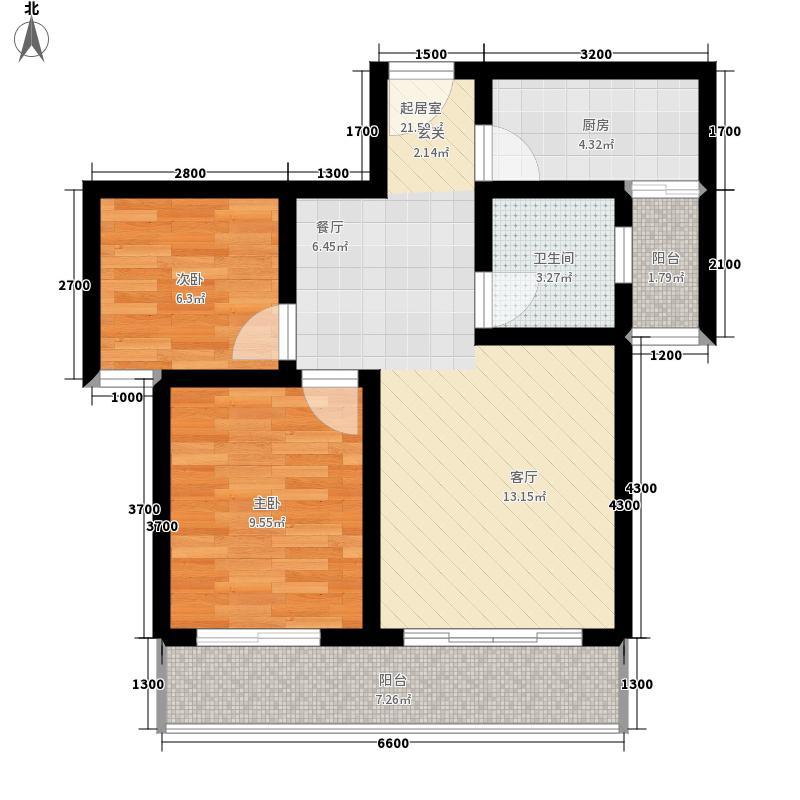 腾瑞·幸福里76.35㎡双阳台2-6B户型2室2厅