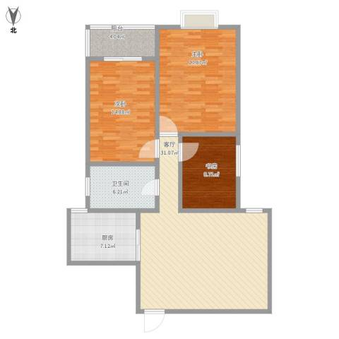 白云小区3室1厅1卫1厨126.00㎡户型图