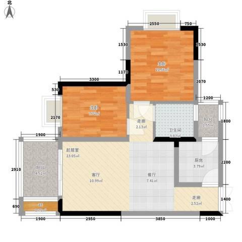 帝豪巴南印象2室0厅1卫1厨63.81㎡户型图