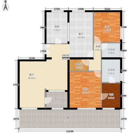 海泰渤龙湾3室0厅2卫1厨140.00㎡户型图
