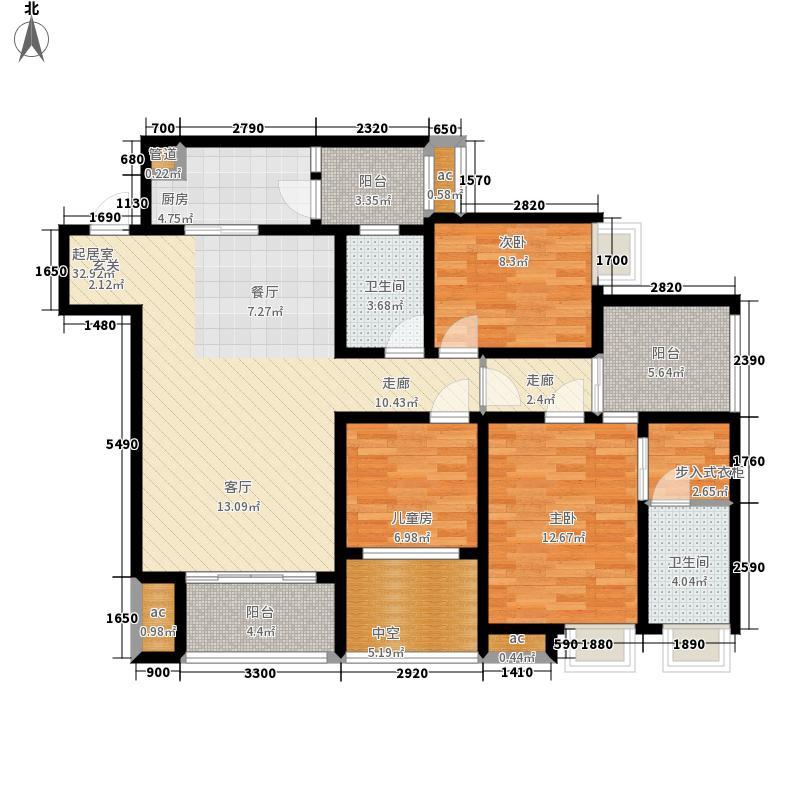 朵力品道99.37㎡一期4号楼标准层C4户型
