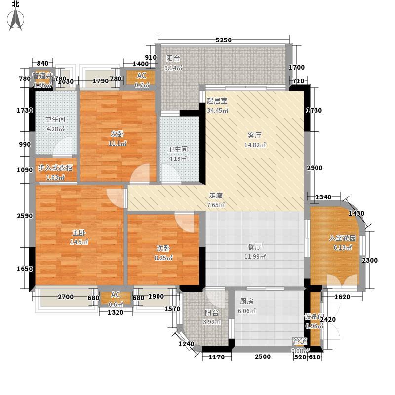 岭南新世界109.59㎡倚湾园18栋01单元3室户型