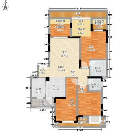 天盈首原3室1厅2卫1厨154.00㎡户型图