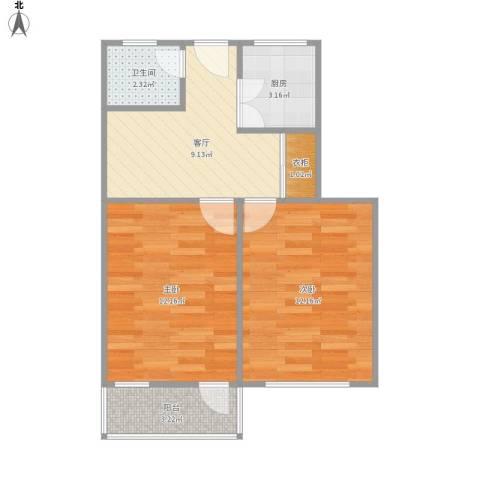 上海路158号2室1厅1卫1厨59.00㎡户型图