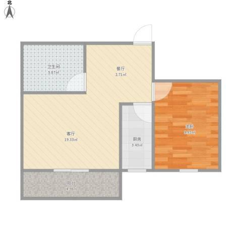 浦发绿城1960弄小区1室1厅1卫1厨57.00㎡户型图