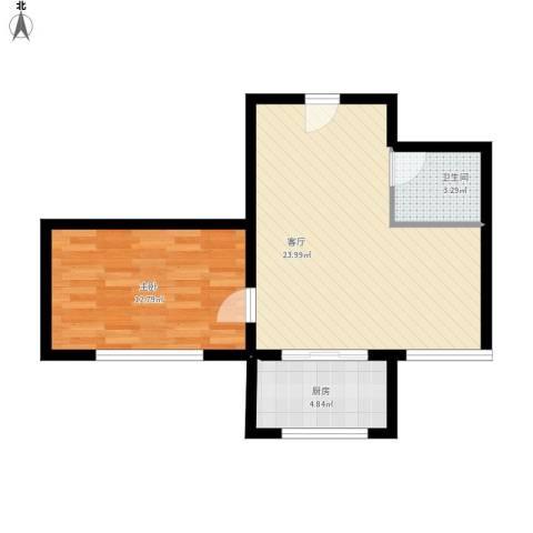 杏林湾1室1厅1卫1厨64.00㎡户型图