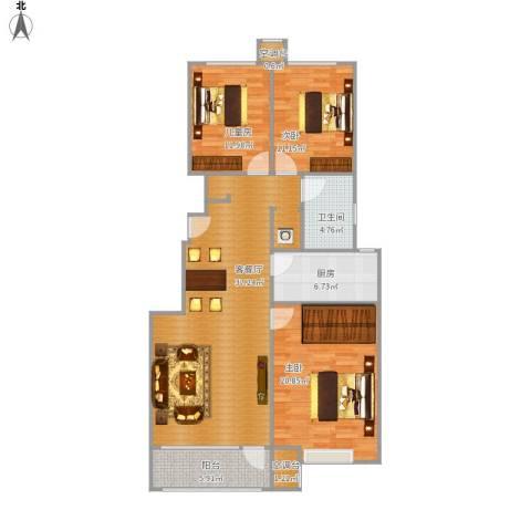 海亮公馆3室1厅1卫1厨134.00㎡户型图