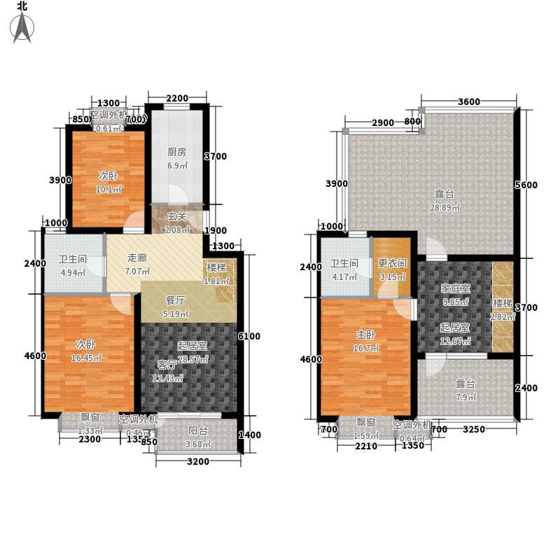 天鸿万象新天131.00㎡多层跃层B2户型3室2厅