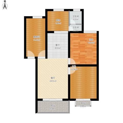 景香苑2室1厅2卫1厨114.00㎡户型图