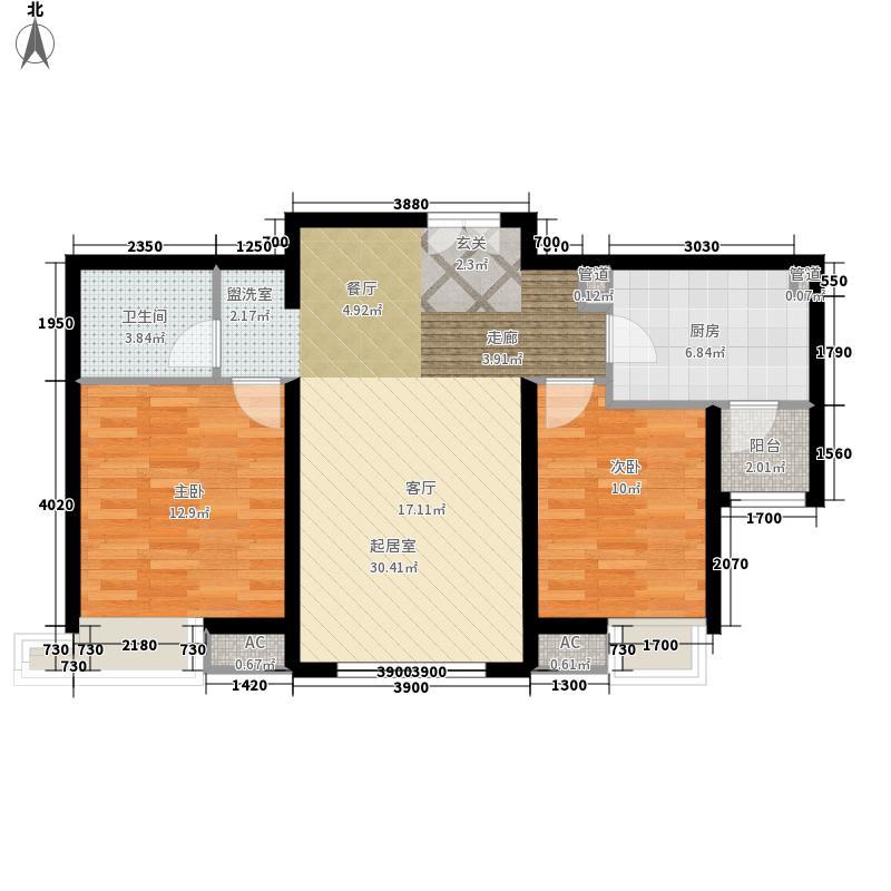 融科橄榄城98.00㎡12-2E户型二室二厅一卫户型