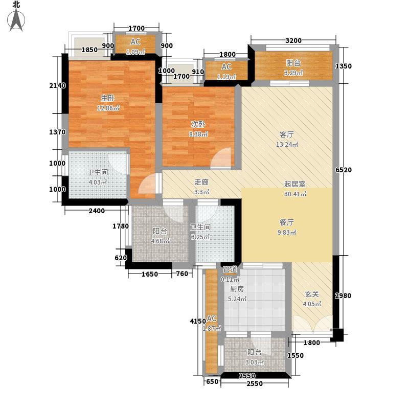 保利江上明珠畅园+院馆D户型2室2厅