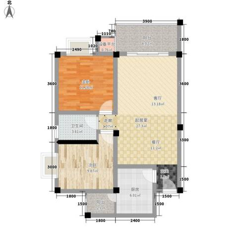 世纪阳光新尚城2室0厅1卫1厨72.00㎡户型图