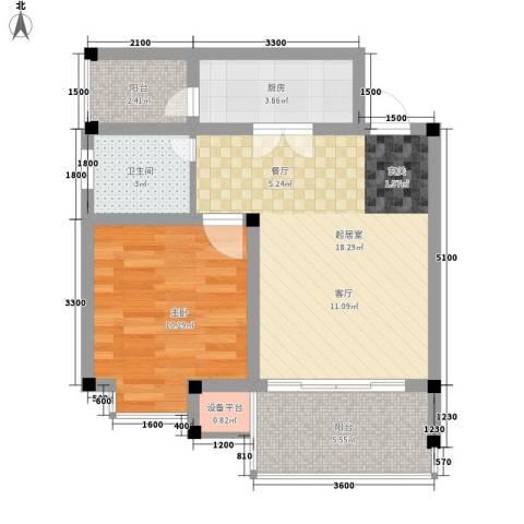 世纪阳光新尚城1室0厅1卫1厨46.00㎡户型图