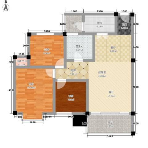 世纪阳光新尚城3室0厅1卫1厨87.00㎡户型图