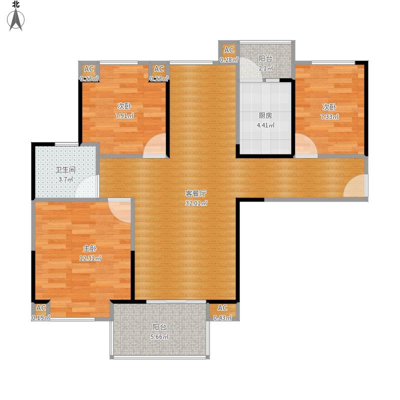 花样年花郡93平B2户型三室两厅一卫