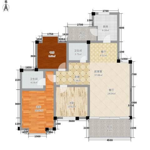 世纪阳光新尚城3室0厅2卫1厨105.00㎡户型图