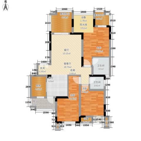 天盈首原3室1厅2卫1厨136.00㎡户型图