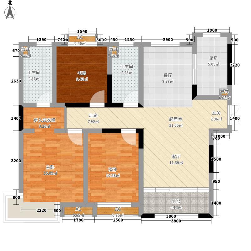 济南鲁能领秀城中央公园128.00㎡三区4#楼C1户型3室2厅