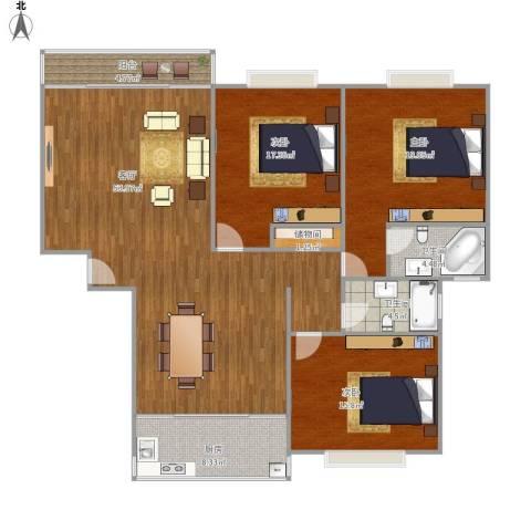 中鼎豪园3室1厅2卫1厨174.00㎡户型图
