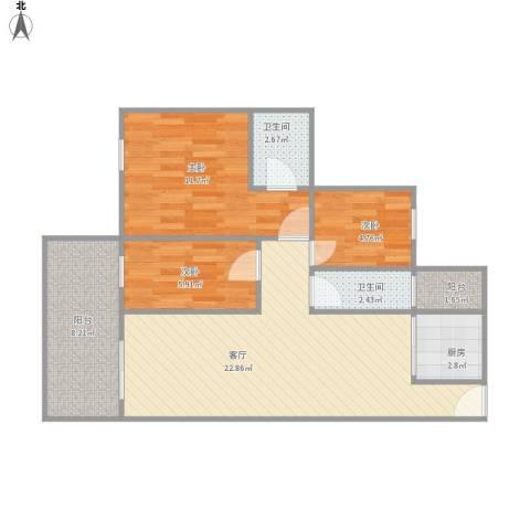 健康花城3室1厅2卫1厨86.00㎡户型图