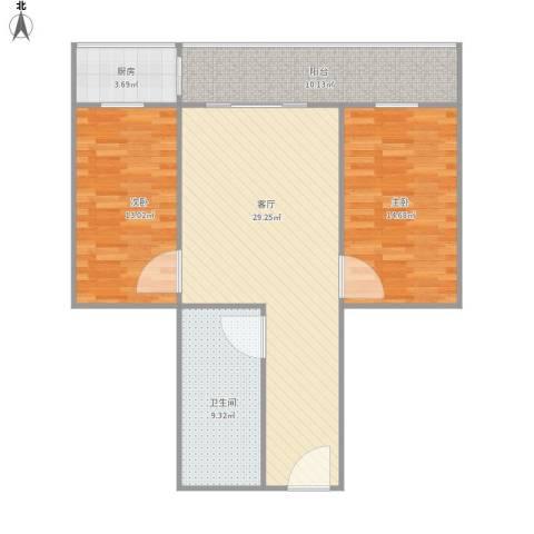 服装城煤炭厅宿舍2室1厅1卫1厨108.00㎡户型图